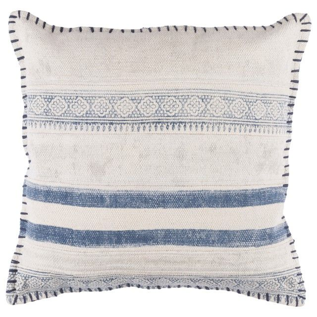 Overcast Indigo Blue Stripe Casual Throw Pillow   Fresh Casual Take On  Traditional Blue And White Home Decor