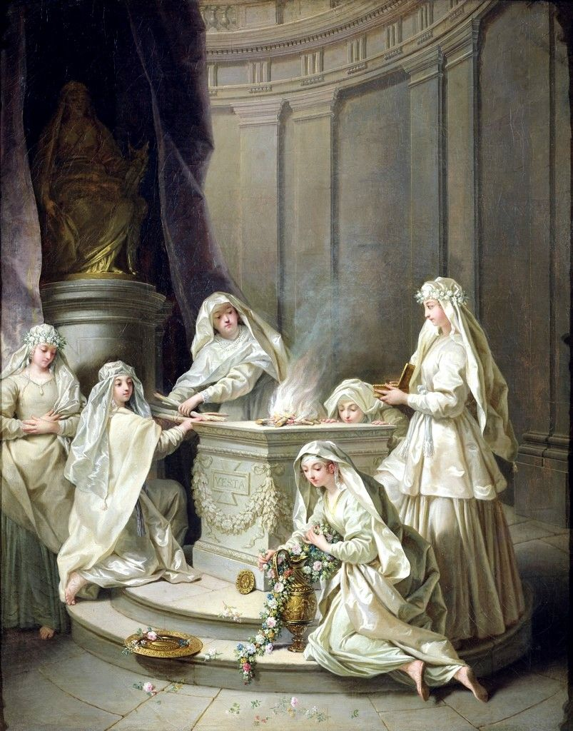 Jean Raoux, Ancient Vestals; 1727 ~In ancient Roman religion, the Vestals or Vestal Virgins (Vestales, singular Vestalis), were priestesses of Vesta, goddess of the hearth.