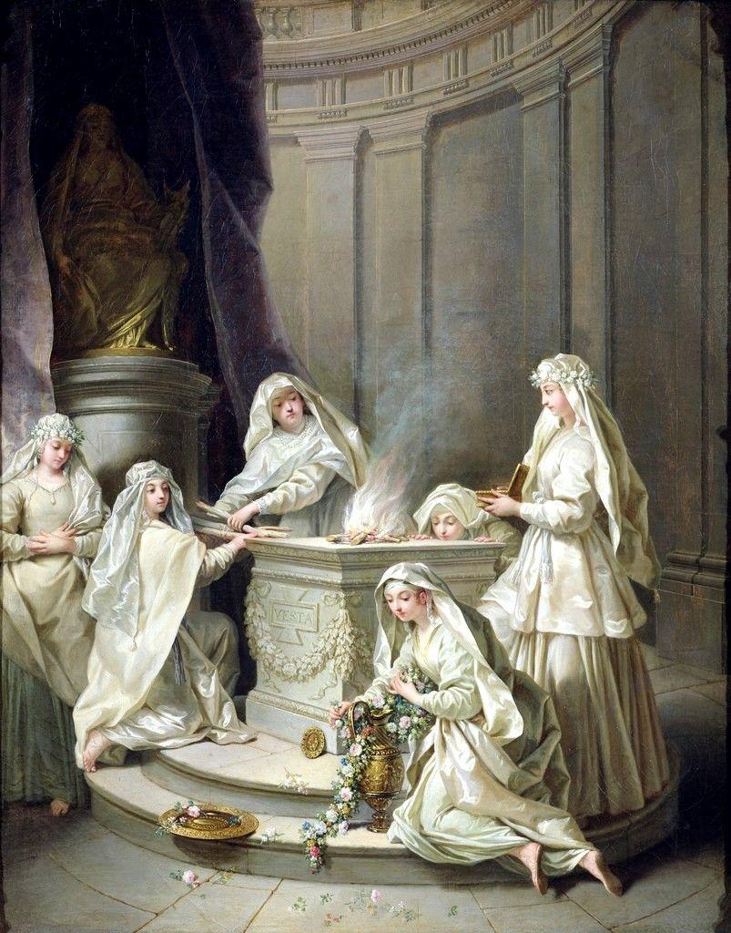 Jean Raoux, Ancient Vestals; 1727 ~In ancient Roman religion, the Vestals or Vestal Virgins (Vestales, singular Vestalis), were priestesses of Vesta, goddess of the hearth.