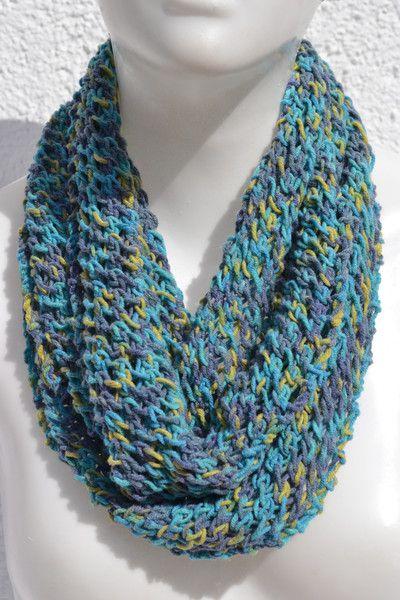 gestrickt - Loop Schlauchschal Schal türkis meliert Baumwolle - ein…