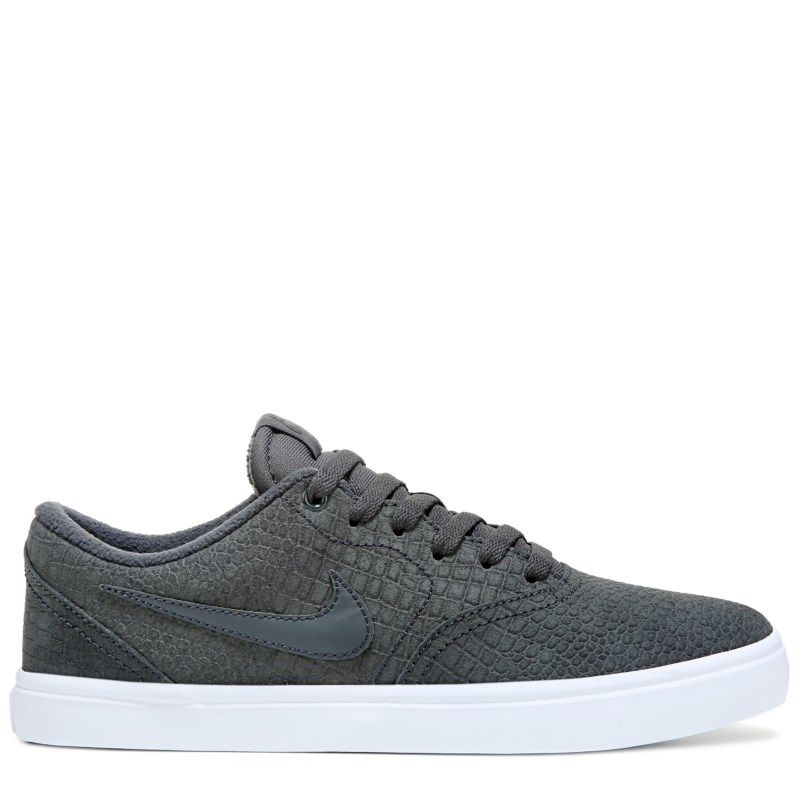 Nike Men's Nike SB Check Solar Leather Skate Shoes (Grey/White)