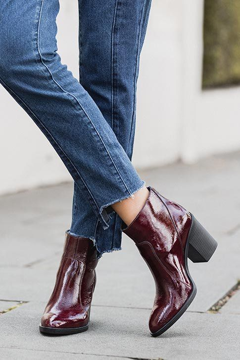 Red Mid Heel Ankle Boots. Sly from the