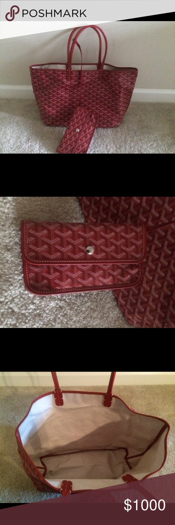 """Goyard St Louis Red Tote Used goyard tote in good condition comes with matching pouch and dustbag. Measurements are 18""""L x 11""""H x 6""""W 🅿️🅿️ only Goyard Bags Totes"""