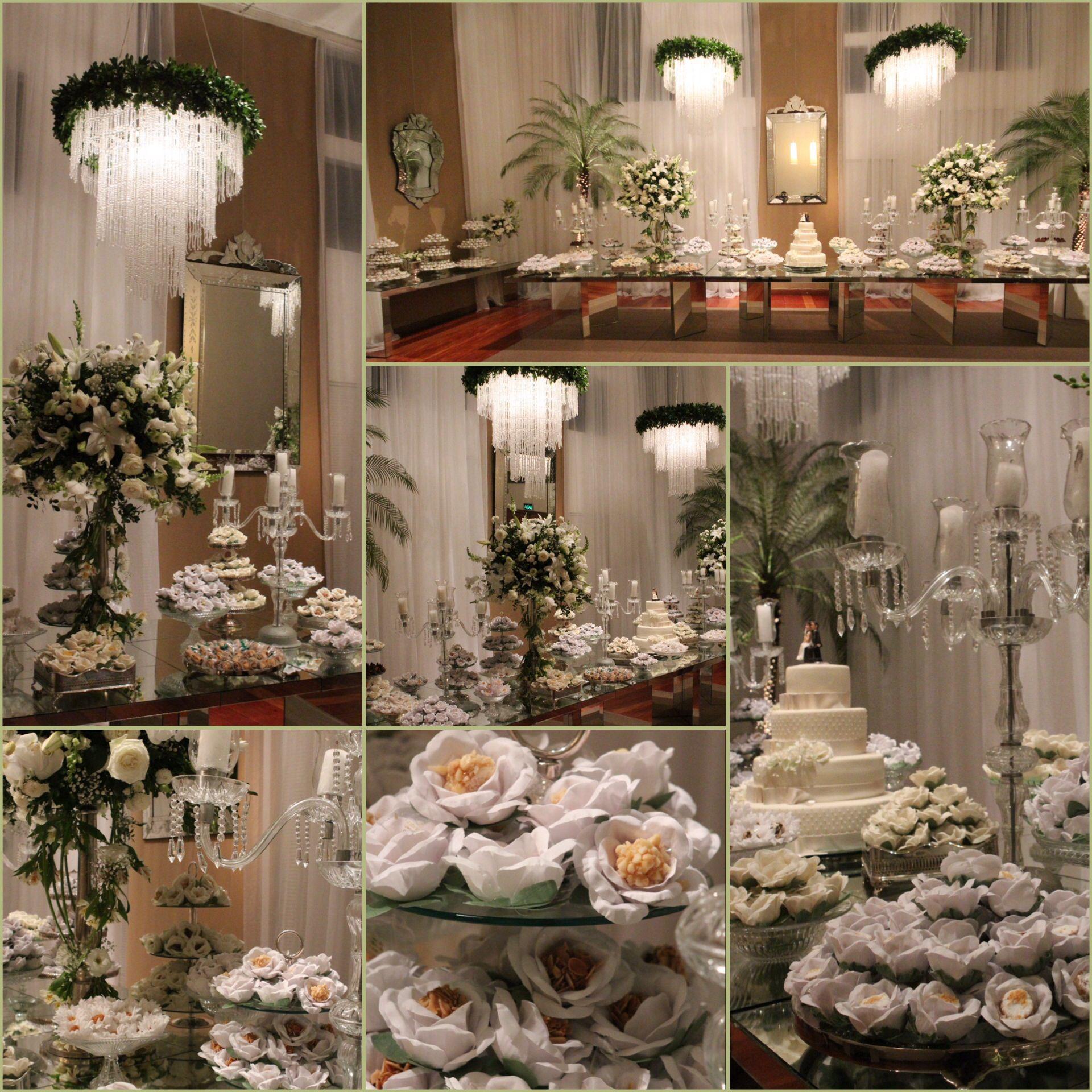 Mesa de doces casamento branco e fendi .