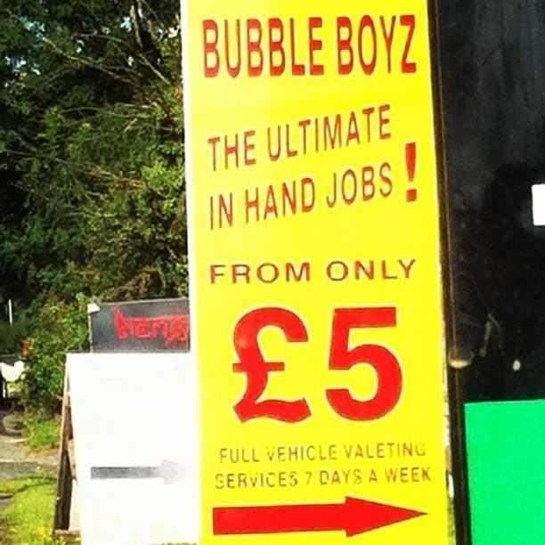 Ultimate Hand Job Handy England English Signs Uk Car Wash Gbp