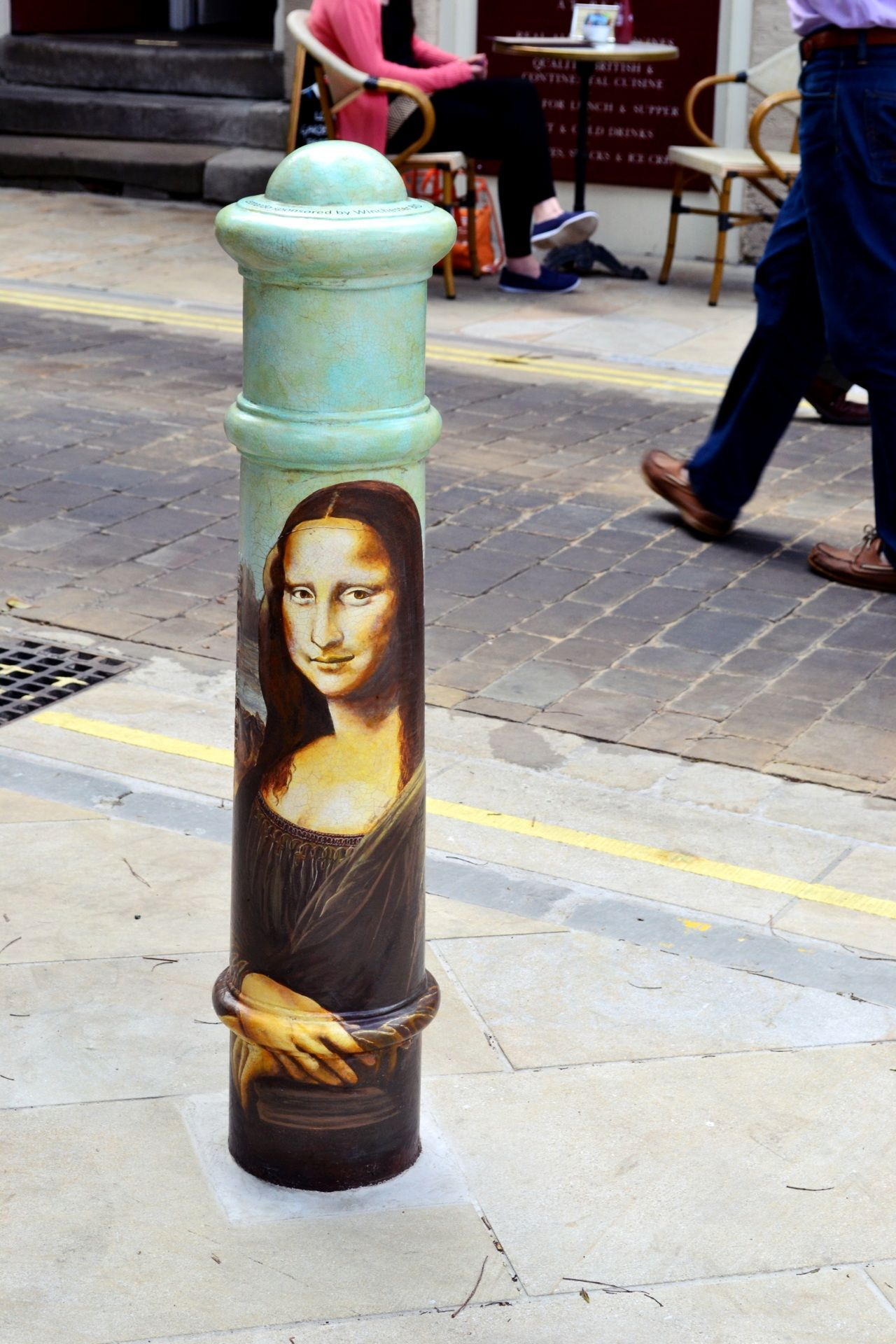 """Artwork by La Joconde - """"I Vividly remember walking into a bollard in Warwick when I was young. Mabey I would have missed it if it looked like this?!!"""""""