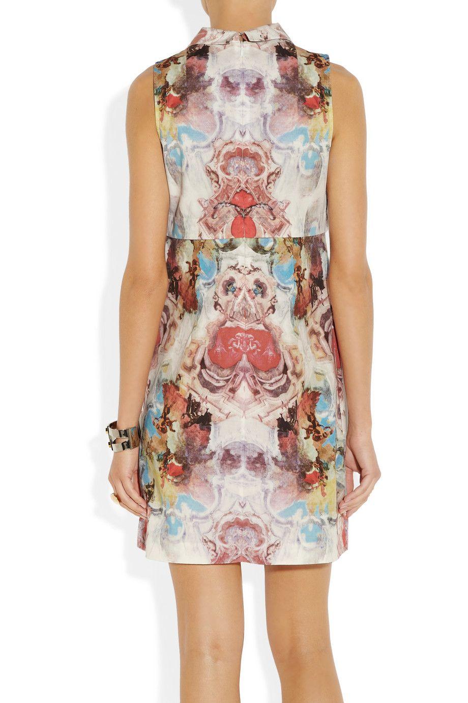 Carven|Printed cotton-poplin dress|NET-A-PORTER.COM