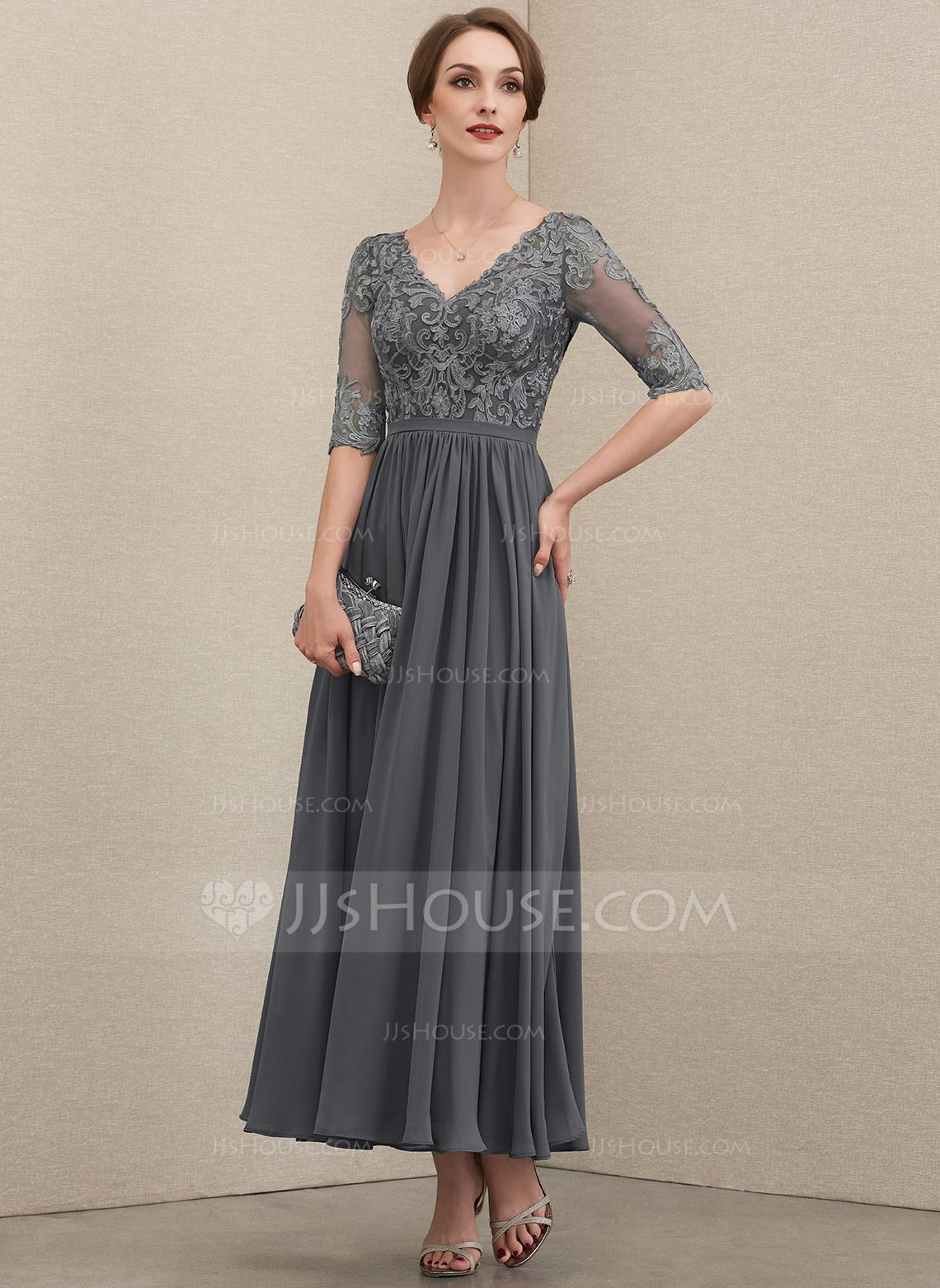 Us 170 00 A Line V Neck Ankle Length Chiffon Lace Mother Of The Bride Dress Jj S House In 2020 Lace Evening Dresses Mother Of The Bride Dresses Mother Of The Bride Dresses Long
