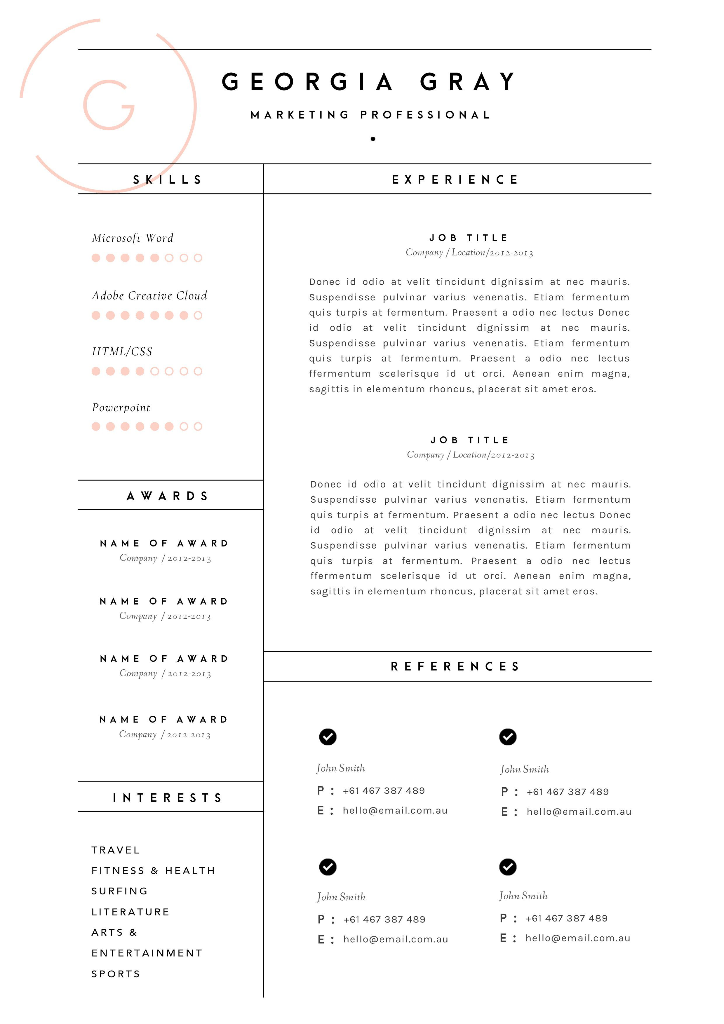 Resume Template  Page  Cv Template By The Template Depot On