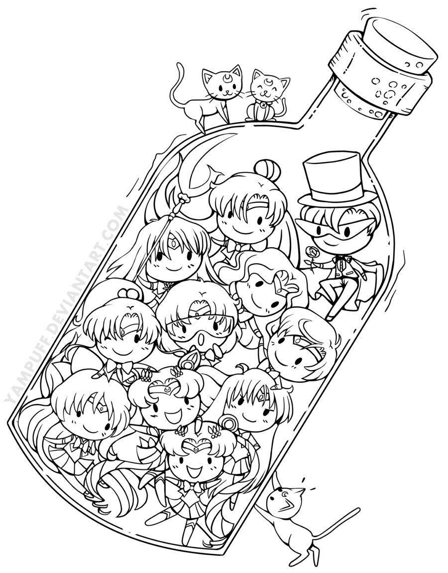 Sailor Senshi in a Bottle  Sailor moon coloring pages, Moon