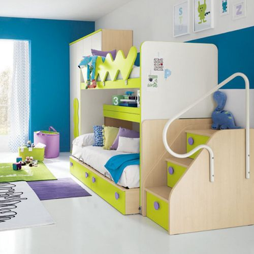 Superb Kids Room Design Also Bunk Bed Idea Plus Colorful Playfully Interior  Decorating Ideas With Green Blue White Paint Color And Rug Purple Also  Workspace Swivel ...