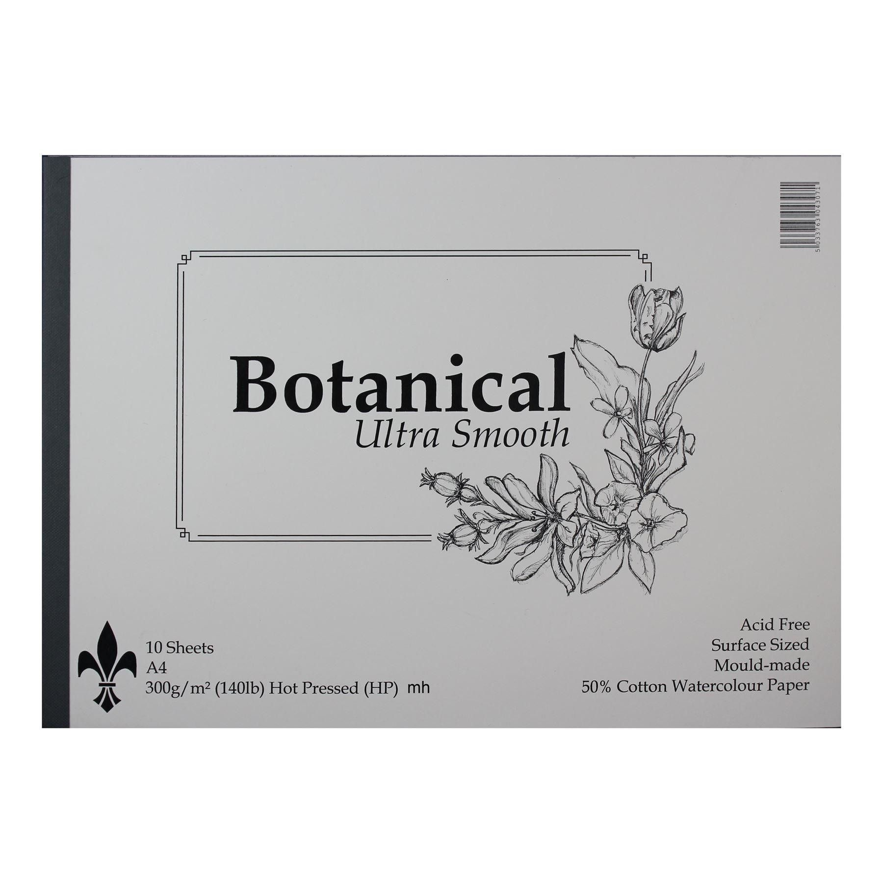 Botanical Hot Press Ultra Smooth A4 Watercolour Paper Pad 10