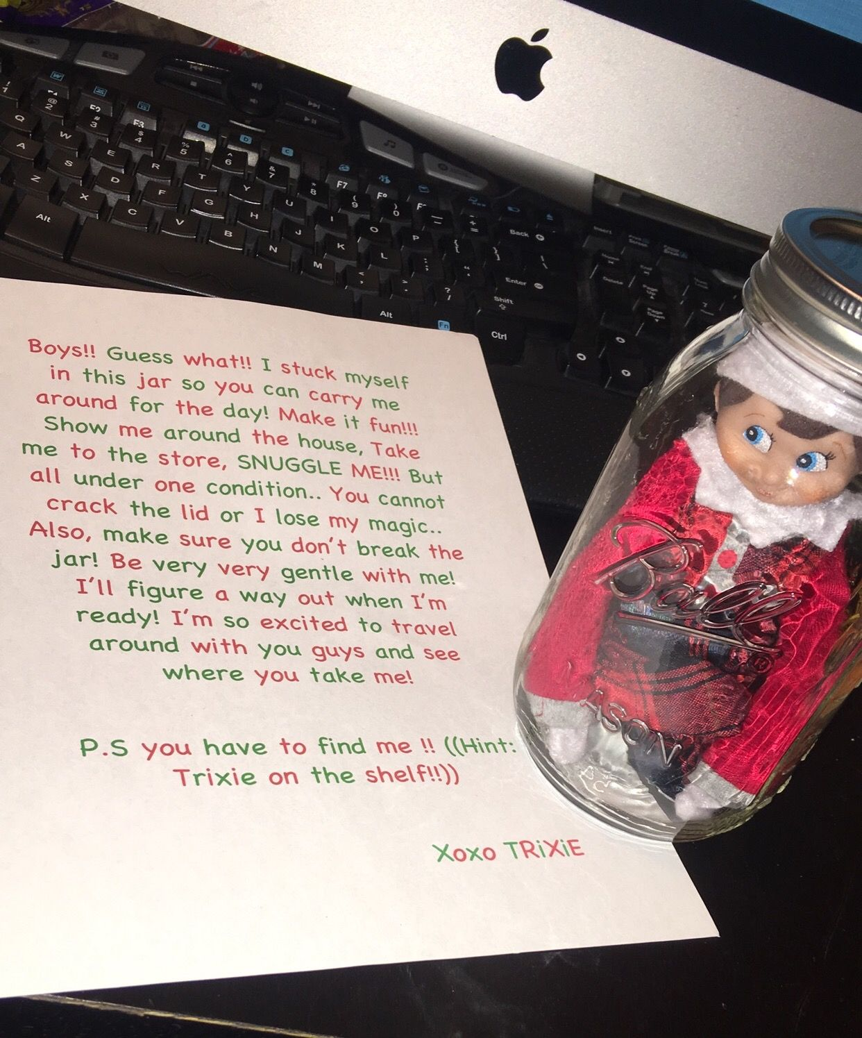 Elf on the shelf. in a jar so you can carry around