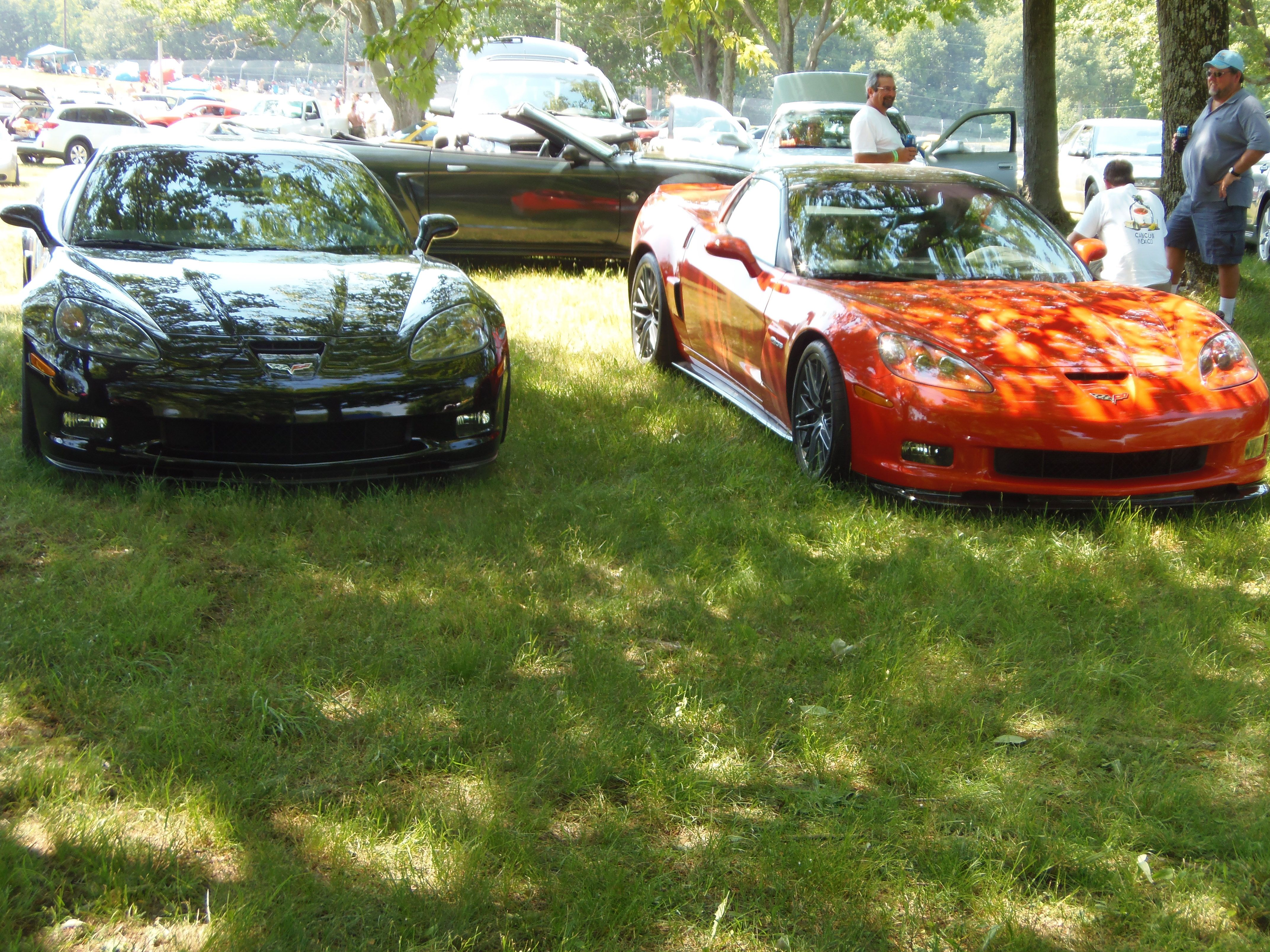 Two Zo6 Corvettes In The Infield At Mid Ohio Raceway In Lexington