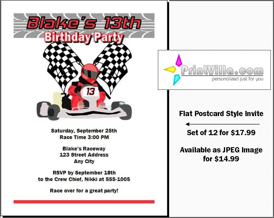 Go Kart #Racer Party #Birthday #Invitations Set of 12, Go Cart ...