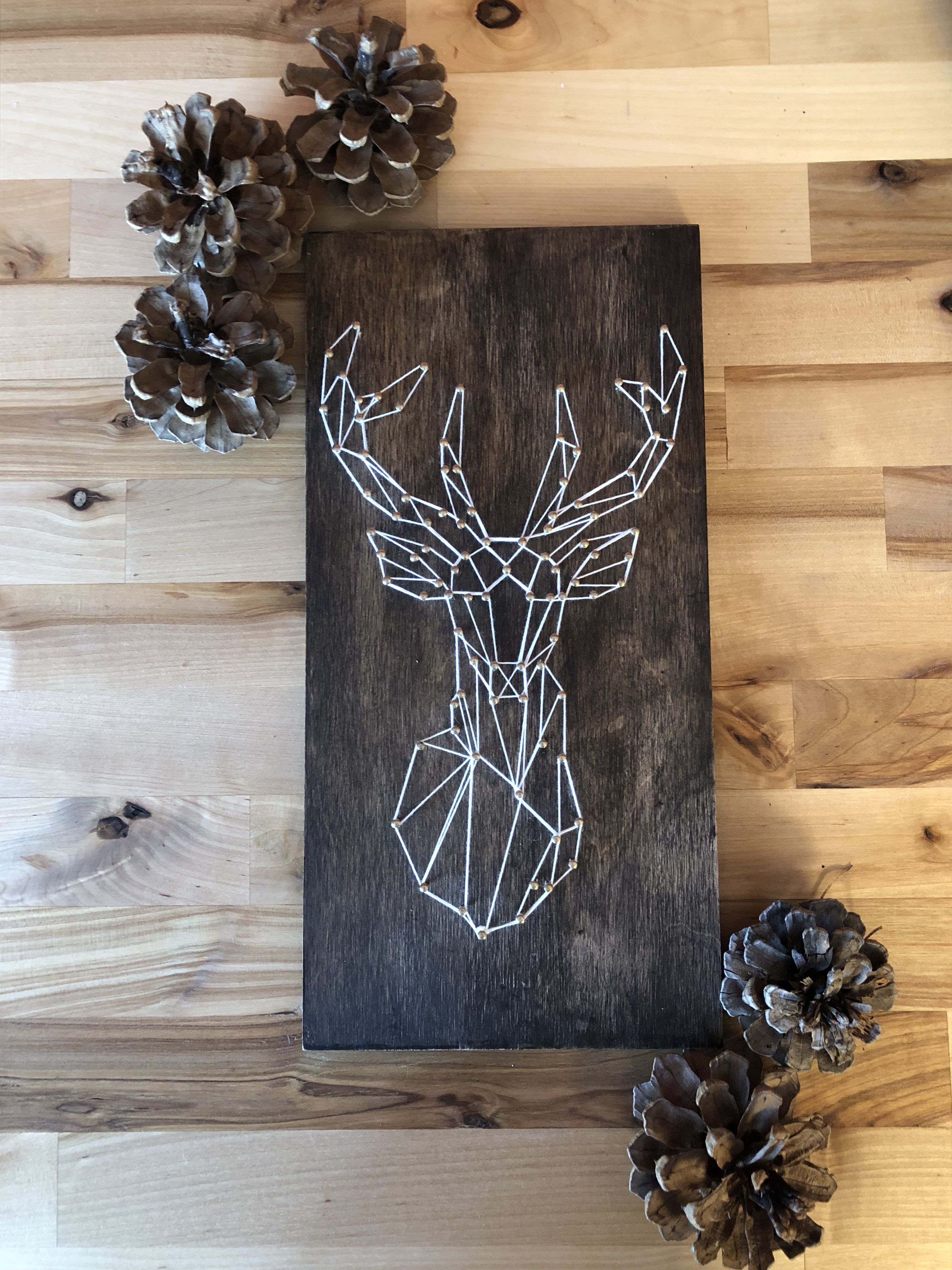 "Modern 12"" X 6"" Geometric Deer String Art Piece Dark Roast Stain Gold Nails And White"