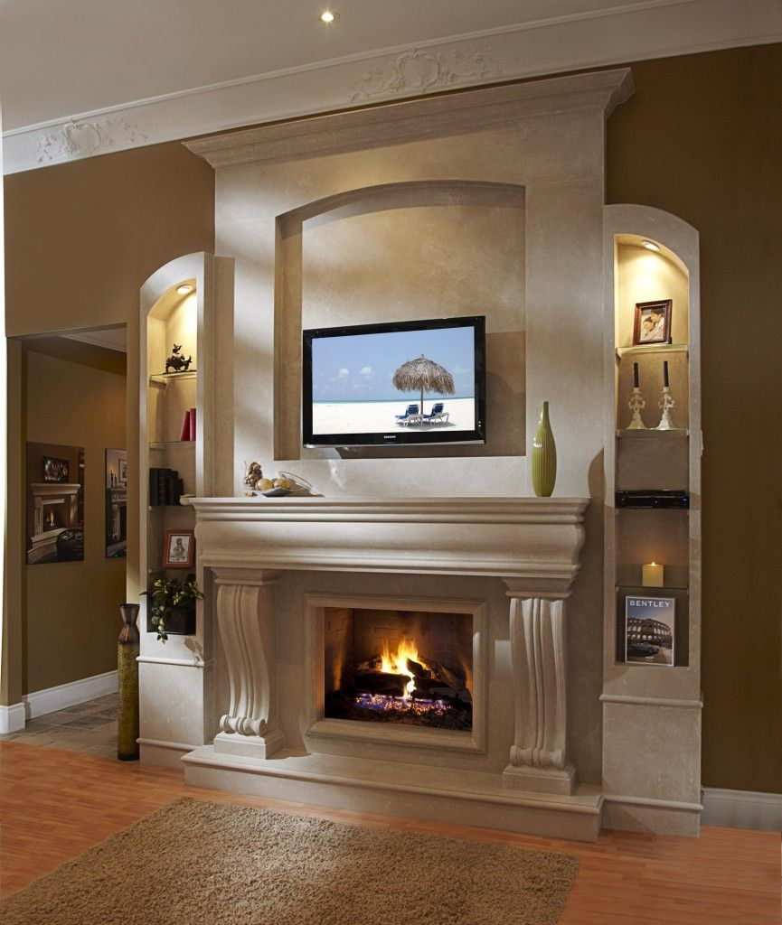 New fireplace with tv eclectic family room minneapolis - Fireplace Mantels With Tv Above Contemporary Living Space Furniture Fireplace Mantel Kits