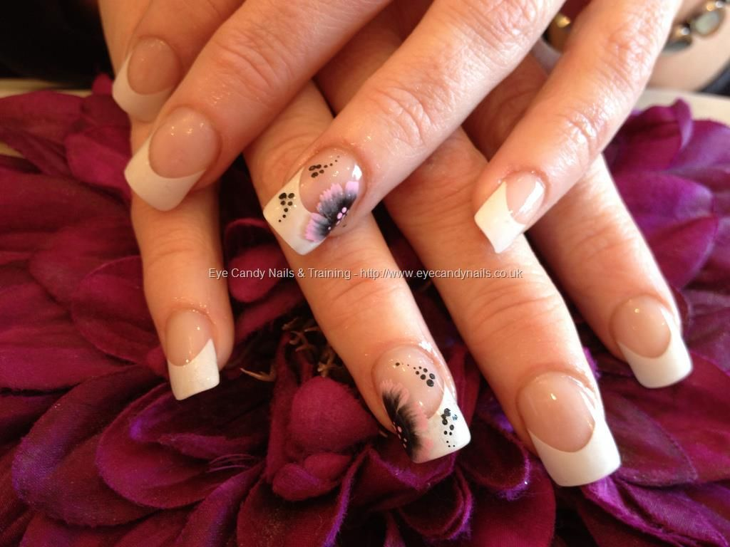 Full set of acrylic with white tips and one stroke nail art on ring ...