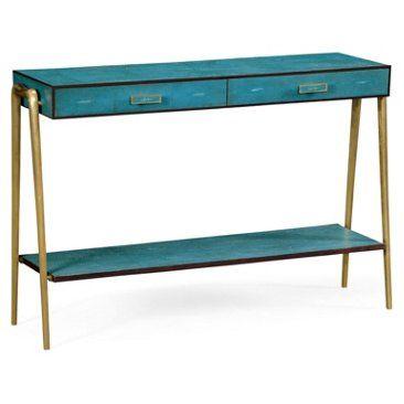 Zena Console Teal Resource Decor Shagreen Furniture Furniture