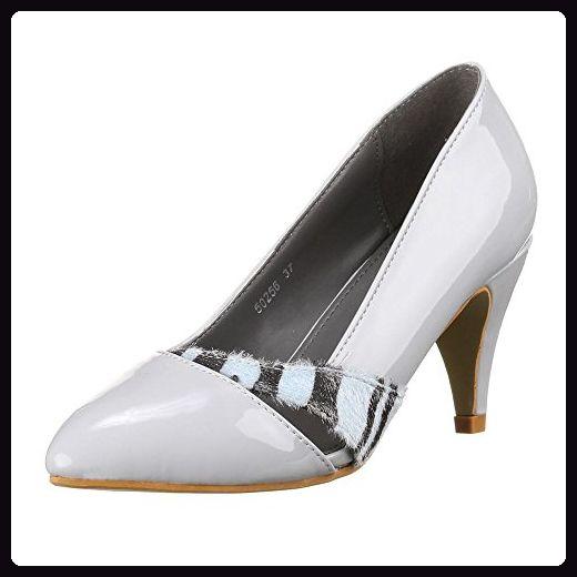 Damen Schuhe, 50256, PUMPS, MODERNE LACKLEDEROPTIK PUMPS, Synthetik, Grau, Gr 39 - Damen pumps (*Partner-Link)