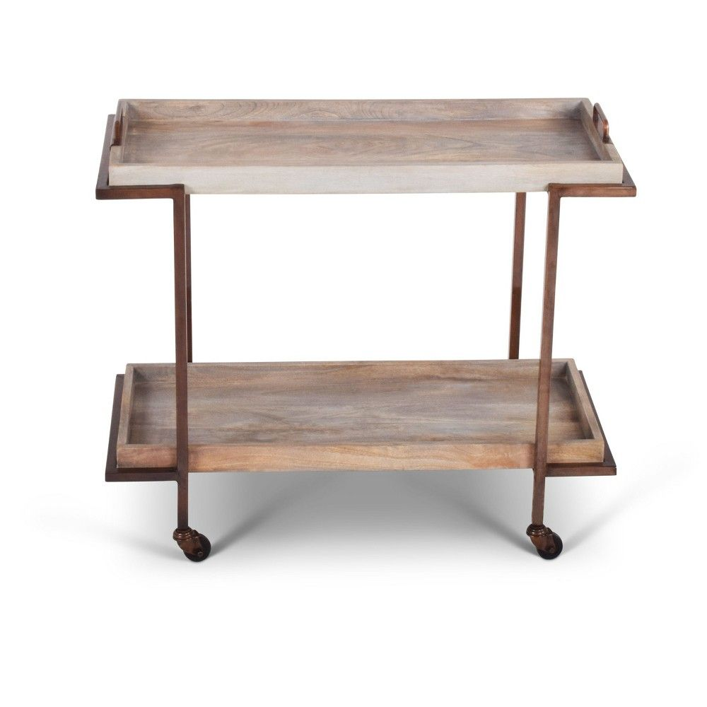 Conway serving cart mango and copper with casters steve silver