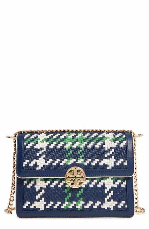 a46a91b73cd Tory Burch Duet Woven Leather Shoulder Bag