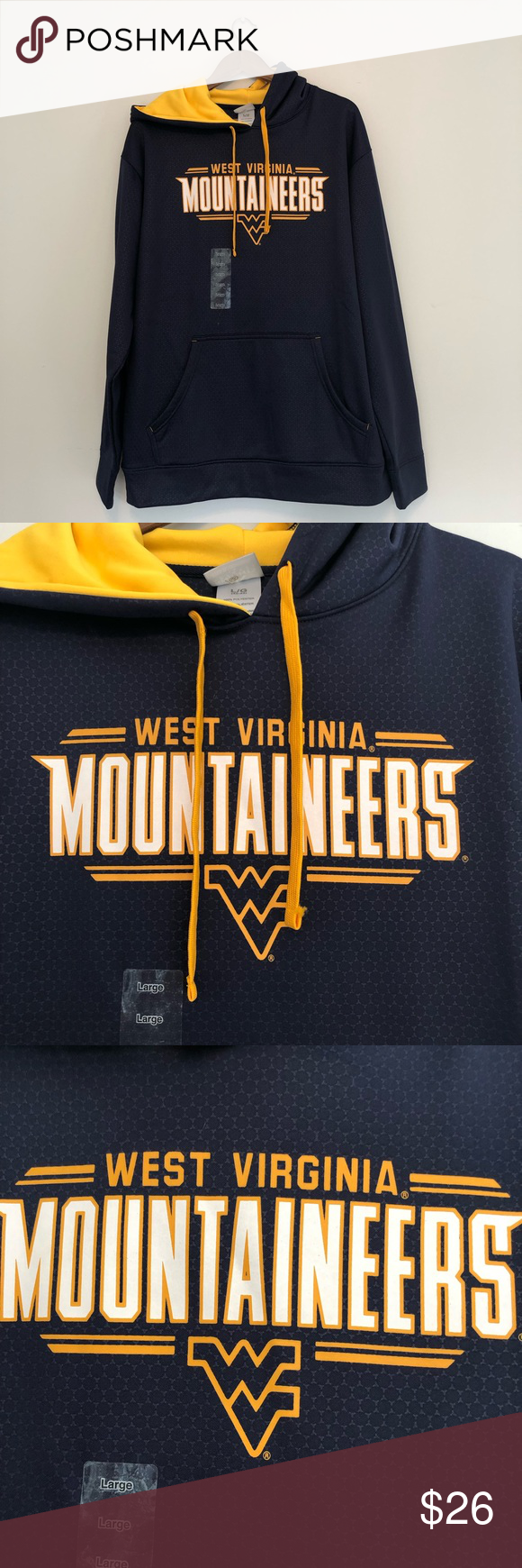 Men's Large WVU Mountaineers Sweatshirt Navy Gold Men's WVU Sweatshirt NWT. Size large. No defects & never worn. Knights Apparel Shirts Sweatshirts & Hoodies #wvumountaineers