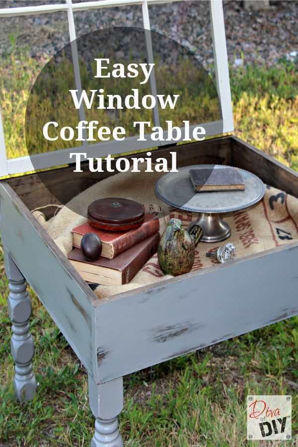 This old window coffee table diy is easy to make and is functional and you can display treasures in the inside storage!Quick and Easy DIY Farmhouse Style!