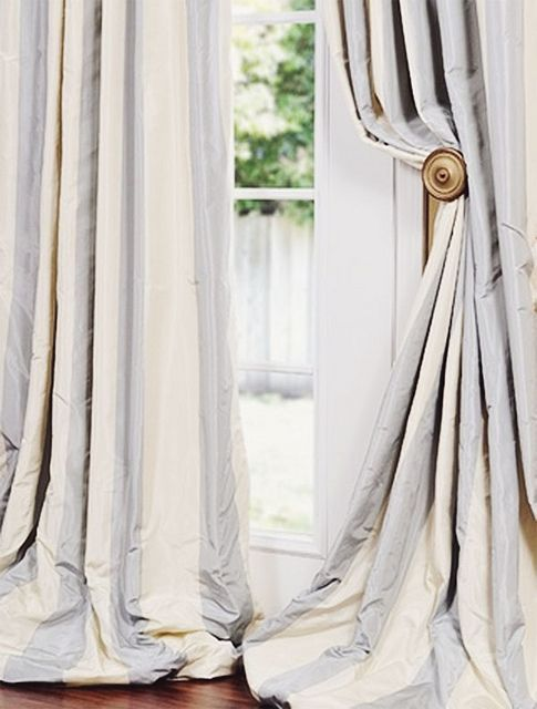 Pale Blue And Off White Wide Stripe Silk Panels Design Chic
