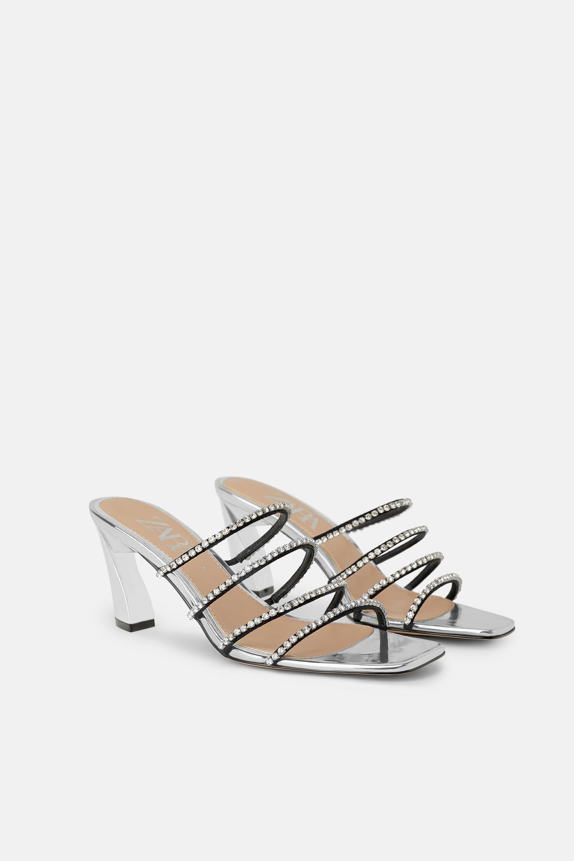 Bejeweled Heeled Mules Heeled Mules Kitten Heel Sandals Black Leather Sandals