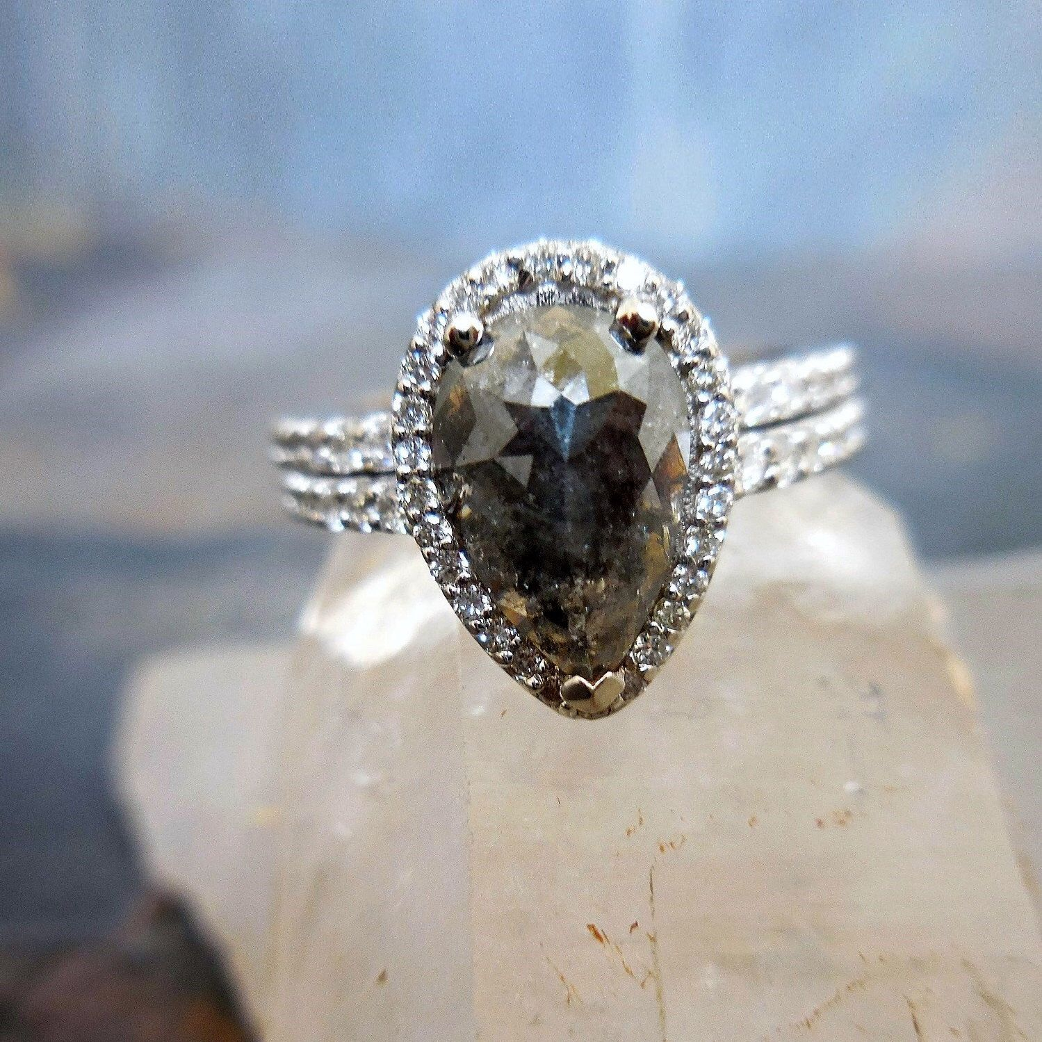 Pear Diamond Ring  Custom Pear Engagement Ring, Rose Cut Diamond Halo,  Made To Order, Unconventional Diamond Ring, Natural Diamonds
