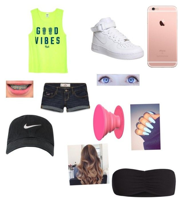 """Shopping for Vidcon"" by hannalove1234 ❤ liked on Polyvore featuring Hollister Co., NIKE and Victoria's Secret"