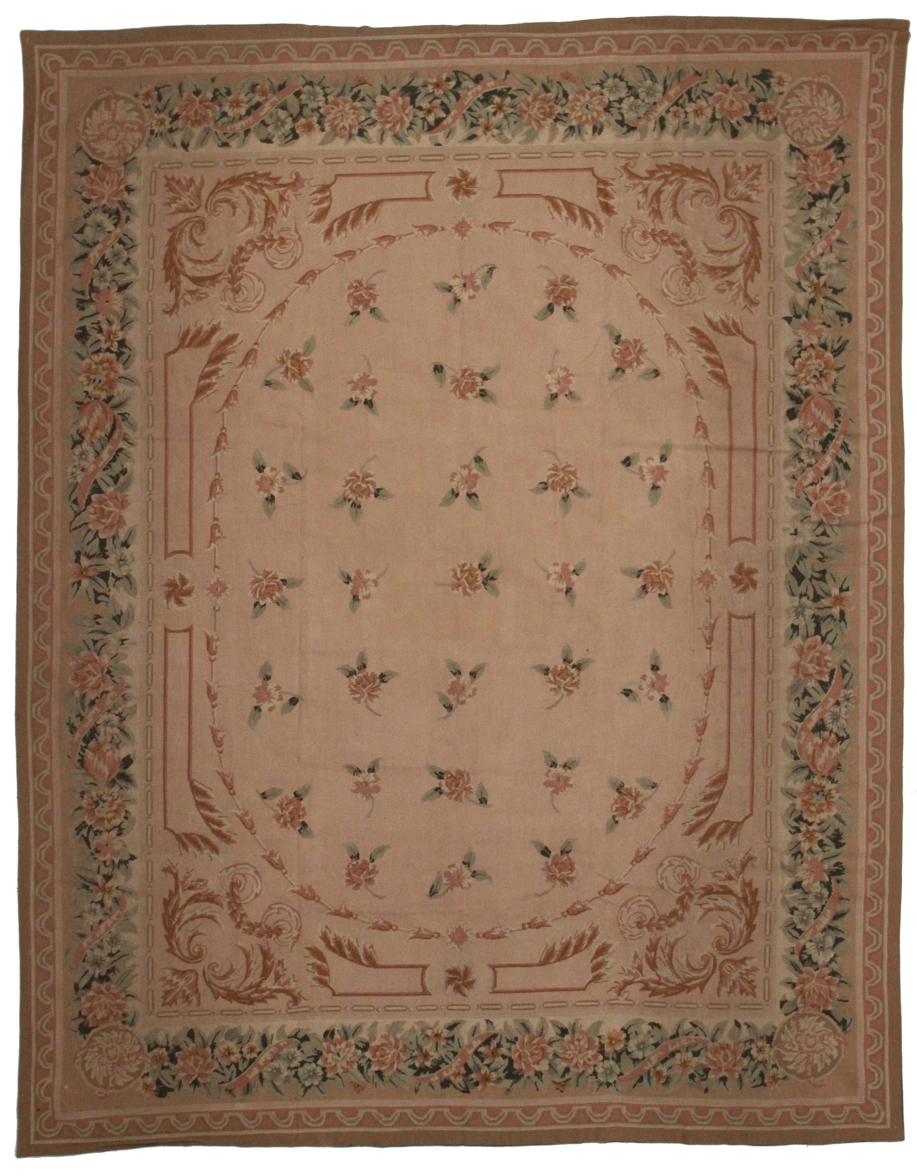 8 X 10 Vintage French Aubusson Needlepoint Rug