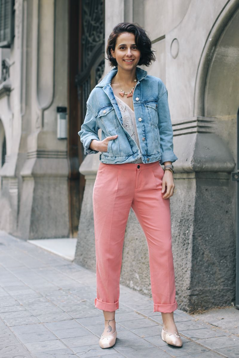 Twist & Tango Pink Trousers. Ballerinas Shoes. Denim Jacket. Indi & Cold  pastel