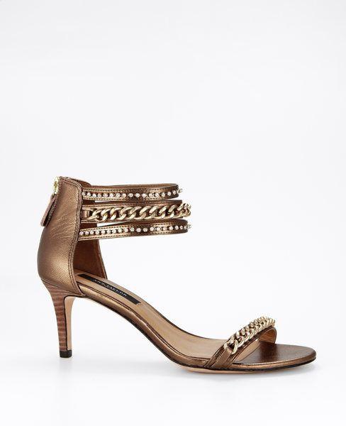 Shelby Bronze Chain Kitten Heel