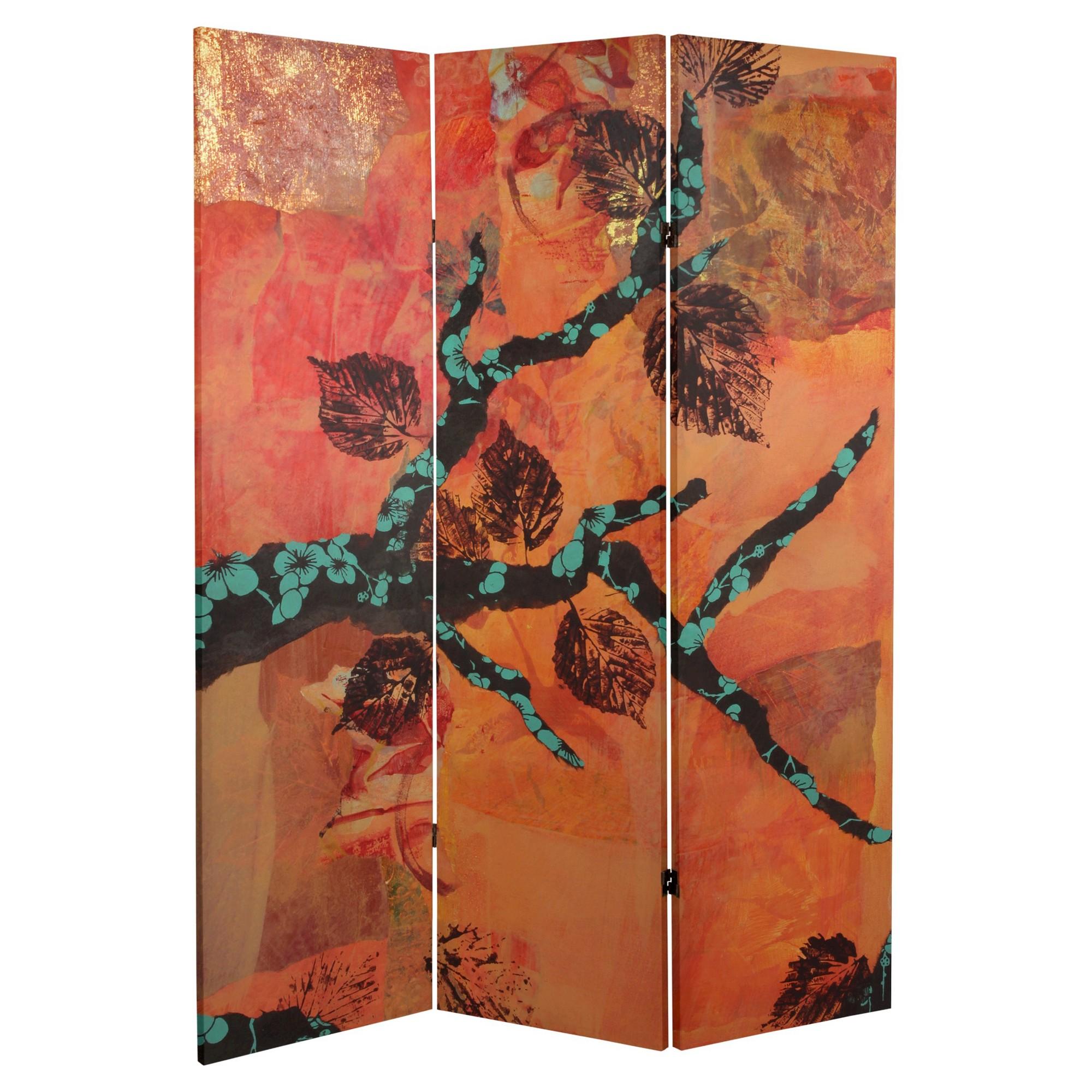 Autumn Collage Room Divider Oriental Furniture Rich Maroon