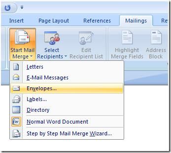 envelope address printing