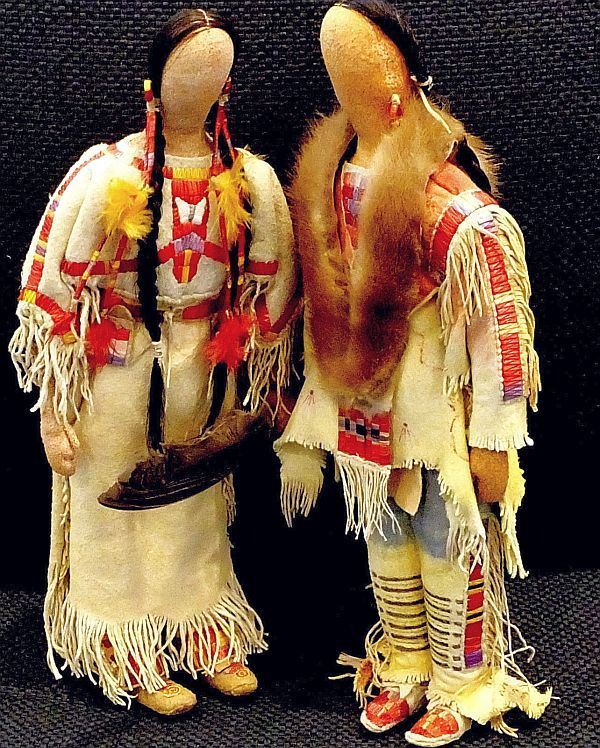 Native American Sioux Quilled Buckskin Dolls - Cecelia FireThunder.