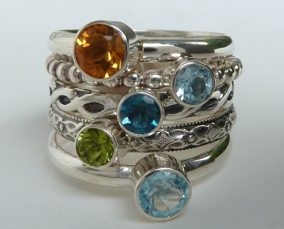 mothers ring 5 birthstone stacking rings family ring