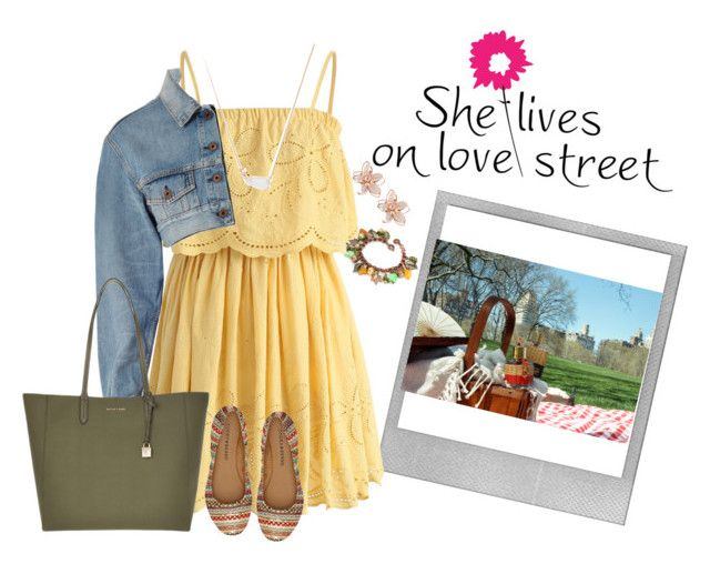 """""""Picnic day"""" by stephanymartinezgarcia ❤ liked on Polyvore featuring beauty, Polaroid, Chicwish, Kendra Scott, Off-White, Michael Kors and NAKAMOL"""