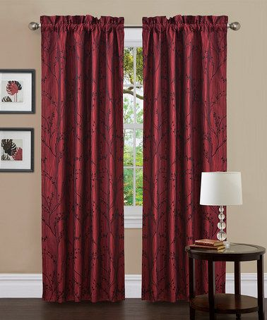 Take A Look At This Red Textured Flower Curtain Panel
