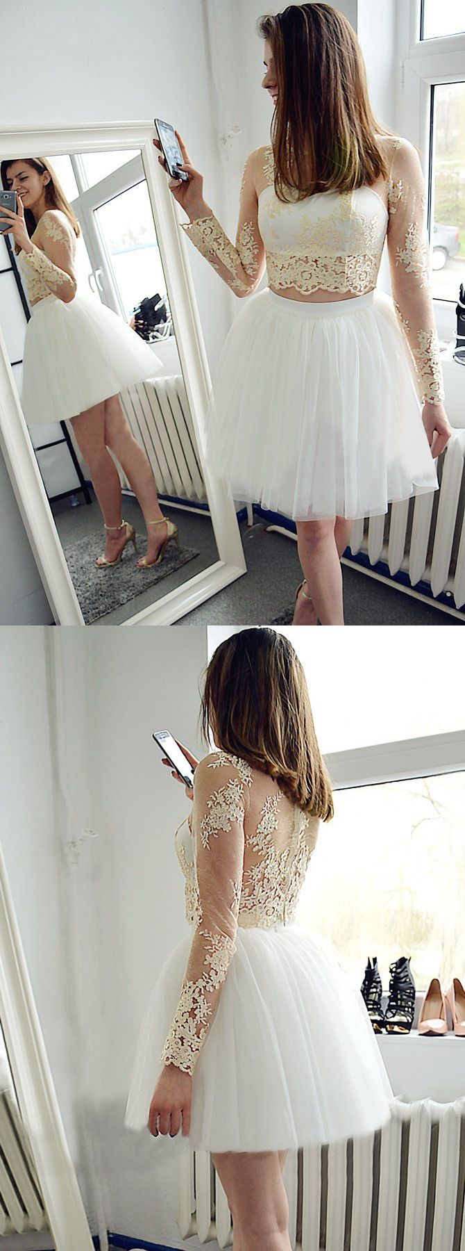 Two piece sheer backless white tulle short homecoming dress with