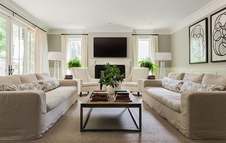 Best Transitional Living Room Features Top Half Of Walls 400 x 300