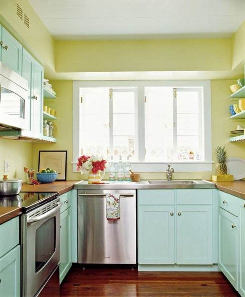 soft yellow wall white ceiling popular paint colors for modern kitchens with soft blue wood c on kitchen paint colors id=70341