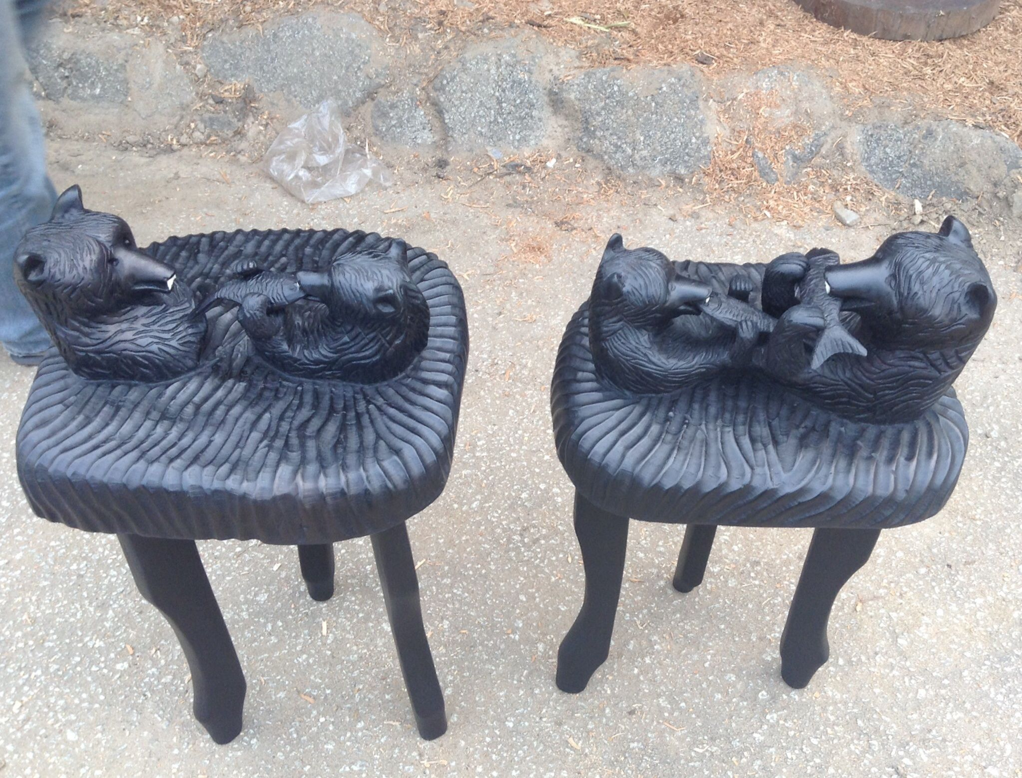 hand carved bear end tables