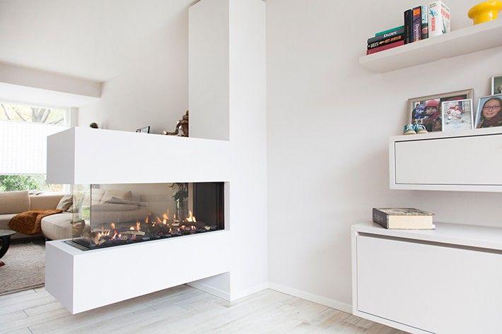haard als afscheiding in woonkamer | Open haarden | Pinterest