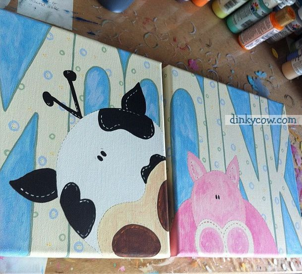 Hand Painted Farm Cow And Pig Theme Kids Nursery Art By Ycow Here An Oink There Everywhere With A Moo