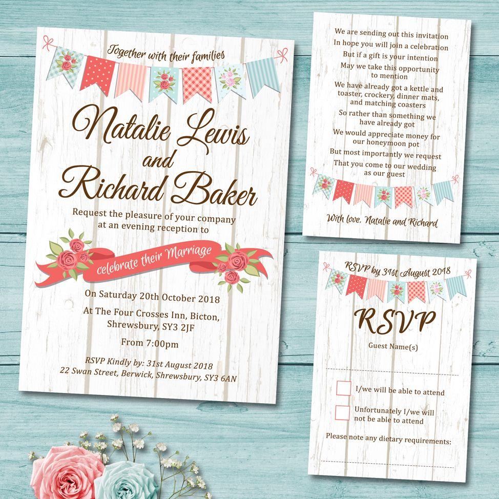 White Wood Vintage Bunting Wedding Invitation Set Includes; Wedding ...