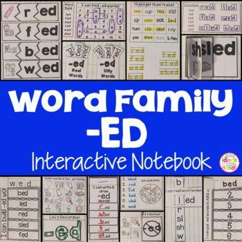This is a Word Family Interactive Notebook to help students practice and learn CVC words and word families. There are 22 different activities for the word family -ed to help your students master the word family. You may choose which activities are best for your students. The activities include: - Sort by word family - Word Family Word Search - ABC Order - Roll, Write, Graph - Spin, Write, Graph - Real & Not Real Pockets - Building Words - Highlight then Trace - Color the Pictures - Decorate
