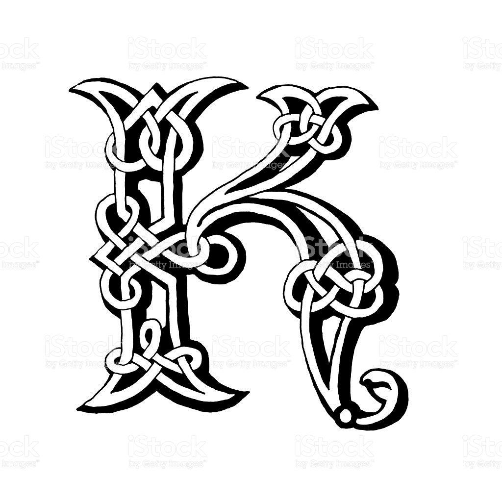 Hand Drawn Celtic Alphabet Letter K